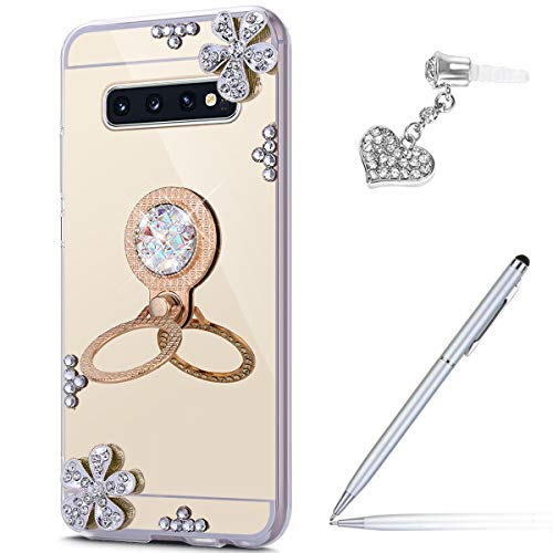 Price comparison product image ikasus Case for Galaxy S10 Diamond Case, Crystal Inlaid diamond Flowers Rhinestone Diamond Glitter Bling Mirror Back TPU Case & Ring Stand Holder + Touch Pen Dust Plug for Galaxy S10 Mirror Case, Gold