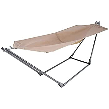Medium image of yuebo portable canvas hammock with space saving steel stand and shoulder harness carrying bag weight capacity of 250 lbs   khaki