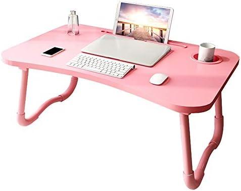 タブレットパソコンデスク折り畳み式のノートPCデスク高密度繊維板ライティングデスク GW (Color : Light pink)