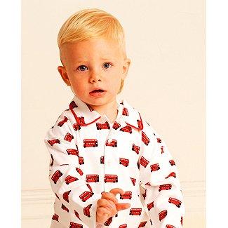Pixie Dixie Boys London Bus Traditional Pyjamas - White - 10 Years ... 483dbe124