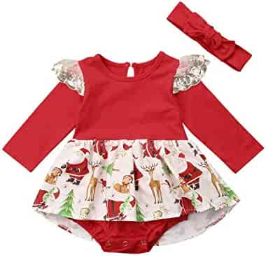 1b215b695 MISOWN Infant Baby Girls Santa Dress Outfit Fashion Floral Christmas Romper Dress  Clothes