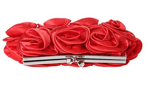 Heyjewels Elegant Rot Rose Blumen Brauttasche Clutch mini Makeup Tasche