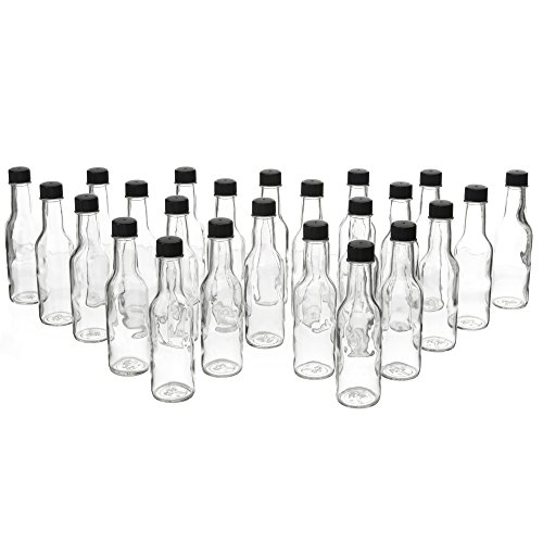 24 Pack - 5 Oz Empty Clear Glass Hot Sauce Bottles with Blac