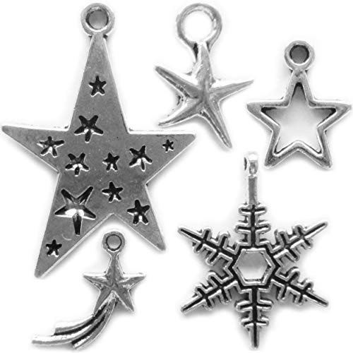 100 Pieces Star Kits Pendant for Kids Bracelet Making Decorate Key Ring