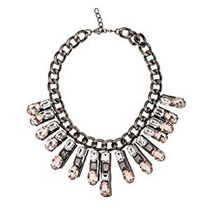 Just Showoff Women's Alloy Shaded Big Crystals Necklace