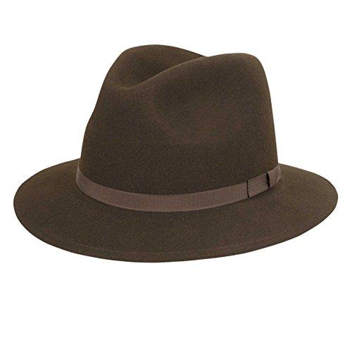 Country Gentleman Men's Wilton Wool Fedora Hat, Brown, M ()