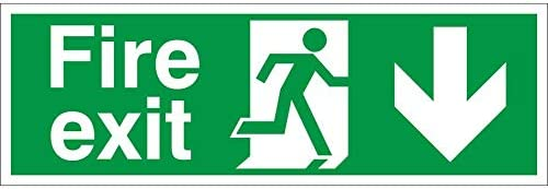 450mm x 150mm Self Adhesive Vinyl VSafety Fire Exit Arrow Down Sign