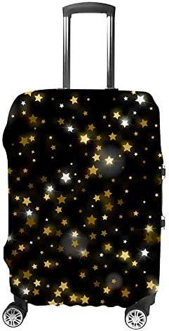 スーツケースカバー トラベルケース 荷物カバー 弾性素材 傷を防ぐ ほこりや汚れを防ぐ 個性 出張 男性と女性抽象的な輝く流れ星