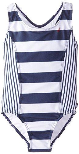 Nautica Little Girls' Classic Stripe One Piece Swimsuit, Navy, 4
