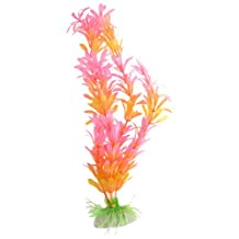 Uxcell Plastic Aquarium Aquatic Plant Ornament, 11.4-Inch, Pink Orange