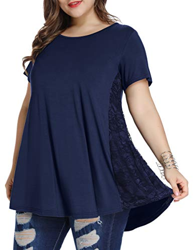 LARACE Women Lace Tunic Top Short Sleeve Flare T Shirt for Leggings(2X, Navy Blue)
