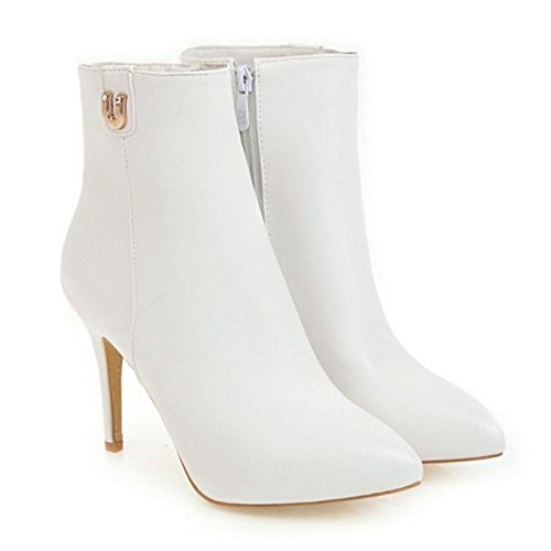 COOLCEPT Women Warm Boots Zipper White 4B7En