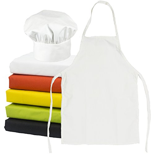 Tessa's Kitchen Kids -Child's Chef Hat Apron Set, Kids Size, Children's Kitchen Cooking and Baking Wear Kit for those Chefs in Training, Size (S 2-5 Year, White)