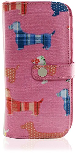 KukuBird Dachshund Dog Pattern Large Ladies Purse Clutch Wallet PINK