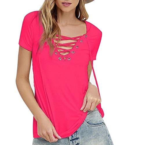 Puro con Shirt Manica Tops Scollo Bendaggio V a Colore Tee Ragazza Corta estive T della FightingDonne EqzFOO