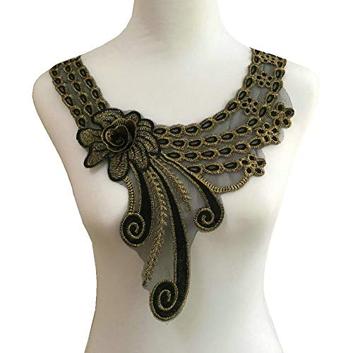 Gold Embroidered Lace Neckline Collar Warm Tones Floral Brown Leaf Applique Patches Scrapbooking Embossed Sewing (Style C)