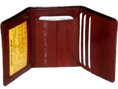 Purse Skin Eel (Eel Skin Trifold Wallet - BURGUNDY)