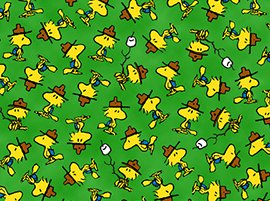 camp-peanuts-woodstock-bird-marshmallow-green-cotton-fabric-by-the-half-yard