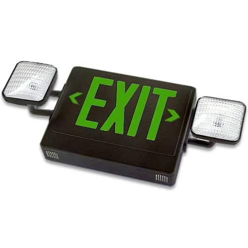 Exit sign and emergency light with LED combo units, compact design fully automatic, Single face, GREEN letters and BLACK housing