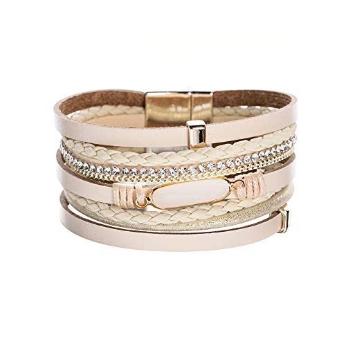 Artilady Shinning wrap Clasp Bangle for Women (Crystal Cream) ()