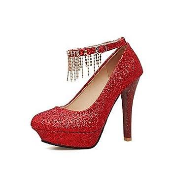SANMULYH Chaussures Femmes De Printemps De La Pompe De Base Paillette Talon Aiguille Talons Bout Rond Pour Robe De Mariage Argent Or Rouge, Rouge, Us5.5 / Eu36 / Uk3.5 / Cn35