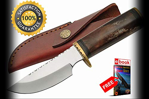 Hunting SHARP KNIFE FIXED BLADE Brown Bone Handle Skinner + Leather Sheath Combat Tactical Knife + eBOOK by Moon Knives