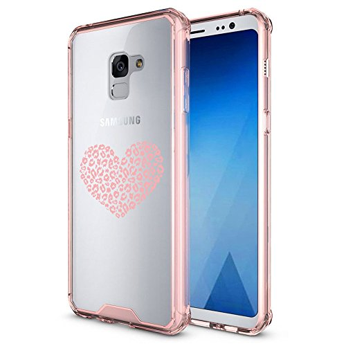 Samsung Galaxy Clear Shockproof Bumper Case Hard Cover Leopard Print Love Heart (Pink For Samsung Galaxy S9+ (Plus)) Leopard Pink Heart