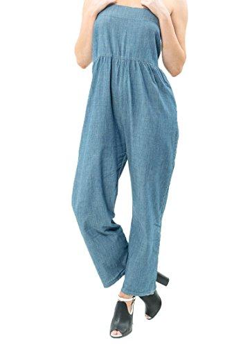 Stanzino Womens Blue Denim (Heels & Jeans Womens Wide Leg Romper Jumpsuit)
