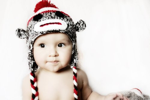 Made in US Handmade baby sock monkey hat - fits 1-3 Year -