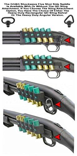 GG&G GGG-2002 Inc, 5 Shot Side Saddle, fits Mossberg Shockwave, Holds 12 Gauge Ammunition, Angle Facilitates Easy Bottom Loading of The Magazine Tube & Top Loading of The Chamber, Black Finish, 12GA ()