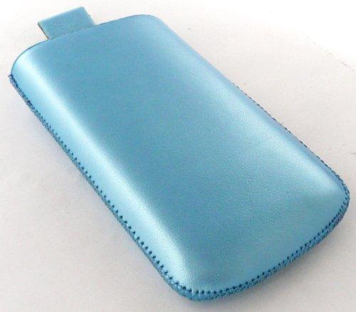 Emartbuy Metallic Blue Pouch / Case / Hülse / Halter (Größe L) Mit Ziehen- Tab Mechanismus Für Apple Iphone 3G/3Gs