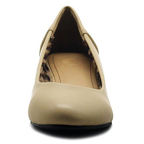Ollio Scarpe Da Donna Slip-on Balletto Basic Leggero Comfort Tacco Basso Nascosto Beige