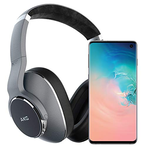 Samsung Galaxy S10 Factory Unlocked Phone with 128GB, (U.S. Warranty) - Prism White w/AKG N700NC Headphones