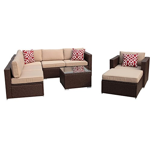 Aluminum Outdoor Frame (PATIOROMA 8pc Patio Conversation Set,Outdoor Wicker Sectional Furniture sofa Set with Beige Seat and Back Cushions, Red Throw Pillows, Aluminum Frame, Espresso Brown PE Wicker …)