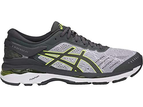 ASICS Men's Gel-Kayano 24 Lite-Show Running Shoes, 12M, Mid Grey/Dark Grey/Safety Yellow Comfort Fit Yellow Cross