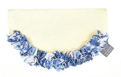 Orange Blinks 1-Piece Renoirs Picnic Ruffle Design Bandanna, Small, Blue Prints/White