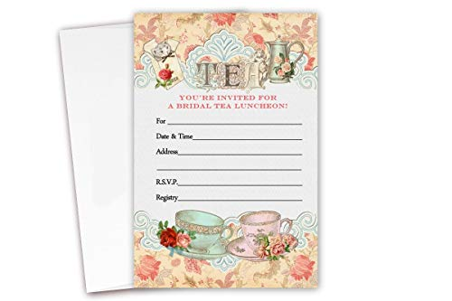 Tea Bridal Shower Luncheon Invitations 20 Count & Envelopes