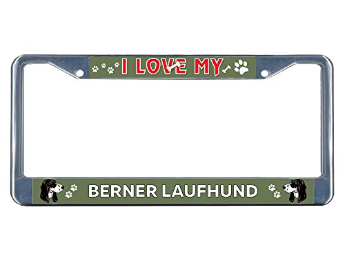 Price comparison product image Berner Laufhund Dog I love Chrome Metal License Plate Frame Tag Border