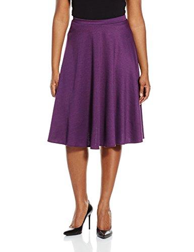 Star Vixen Women's Plus Size Ponte Midi Skater Full Skirt, Purple, 1X