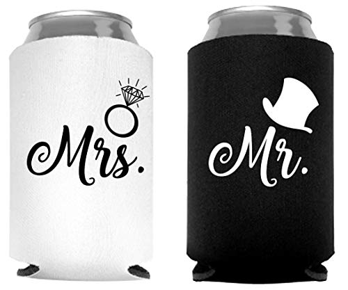 Mr. and Mrs. Can Coolers, Set of 2, 1 White and 1 Black Beer Can Coolies, Cute Wedding Gifts, Novelty Can Cooler, Perfect Engagement or Anniversary Gift, Bridal Shower Gift