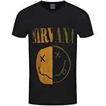 Nirvana T Shirt Spliced Smiley Face Band Log Nevermind Official Mens Black