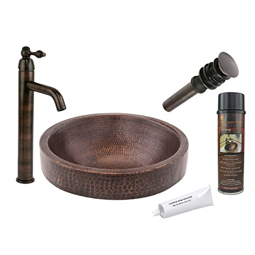 Premier Copper Products VR15SKDB Small Round Skirted Vessel Hammered Copper Sink with Single Handle Vessel Faucet Package, Oil Rubbed Bronze (Small Round Skirted Vessel Hammered Copper Sink)