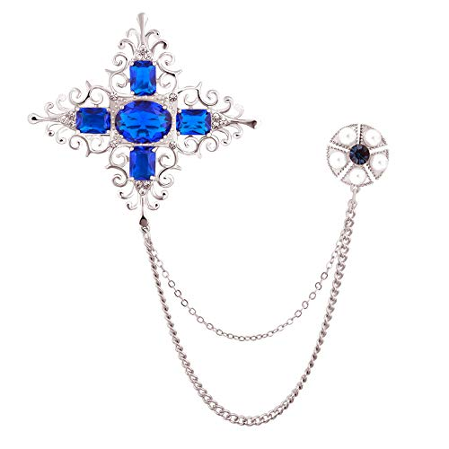 - OBONNIE Antique Royal Blue Crystal Cross Star Pearl Flower Chain Brooch Lapel Collar Pin Suit Accessory