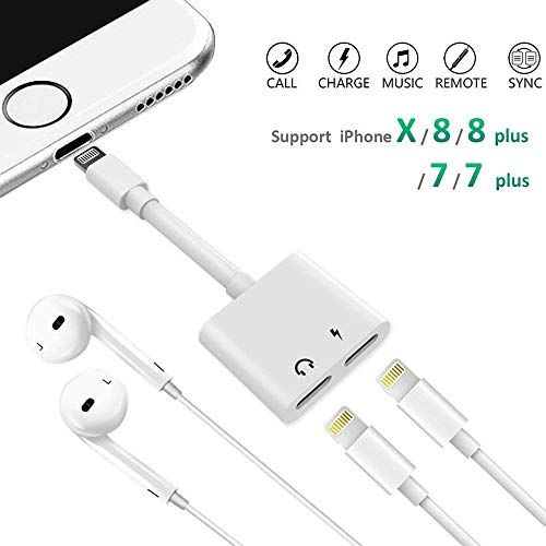 Nicexx Adapter & Splitter Compatible IP 7/7 Plus 8/8 Plus/X, Headphone Jack Aux Audio & Charging & Calling & Sync Cable Connector Earphone Charger- White