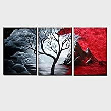 TFs Hand-painted Oil Paintings Abstract Cloud Tree Scenery Black White Red Wall Art Ready to Hang , with stretched frame