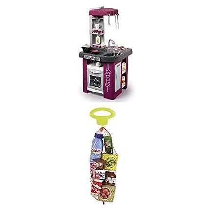 Smoby Cocinita de juguete Cocina Studio, +3 años (Smoby 311040)+ Malla comiditas, Color Verde