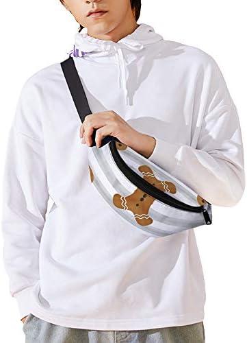 灰色の縞模様のジンジャーブレッド人 ウエストバッグ ショルダーバッグチェストバッグ ヒップバッグ 多機能 防水 軽量 スポーツアウトドアクロスボディバッグユニセックスピクニック小旅行