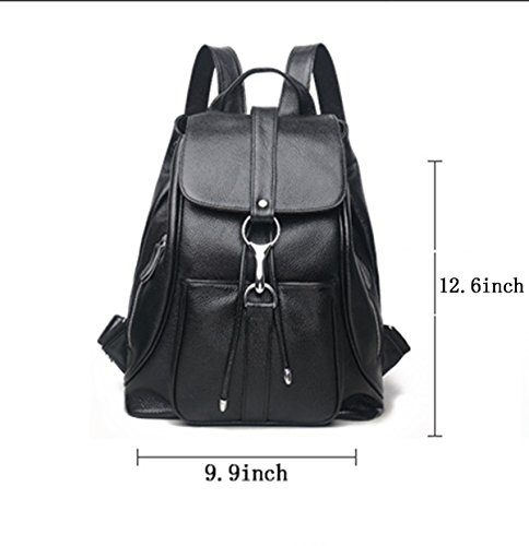 Women Black Vintage Real Genuine Leather Backpack Purse Travel Bag Schoolbag,Travel Shoulder Bag By CLAIRE CC by CLAIRE CC (Image #2)