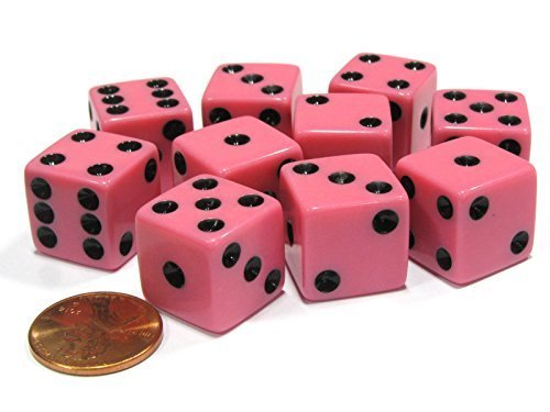Set of 10 Six Sided D6 16mm Standard Dice Pink by Koplow Games Pink Dice Game