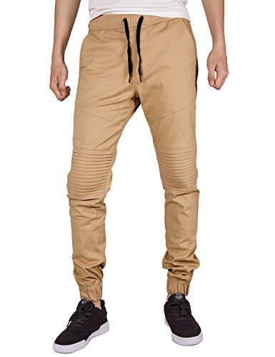 ITALY MORN Men's Chino Jogger Biker Pant Twill Slim Fit
